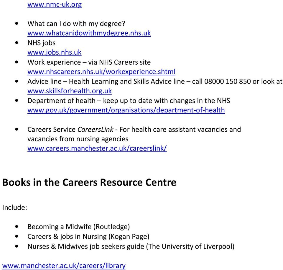 uk/government/organisations/department-of-health Careers Service CareersLink - For health care assistant vaca