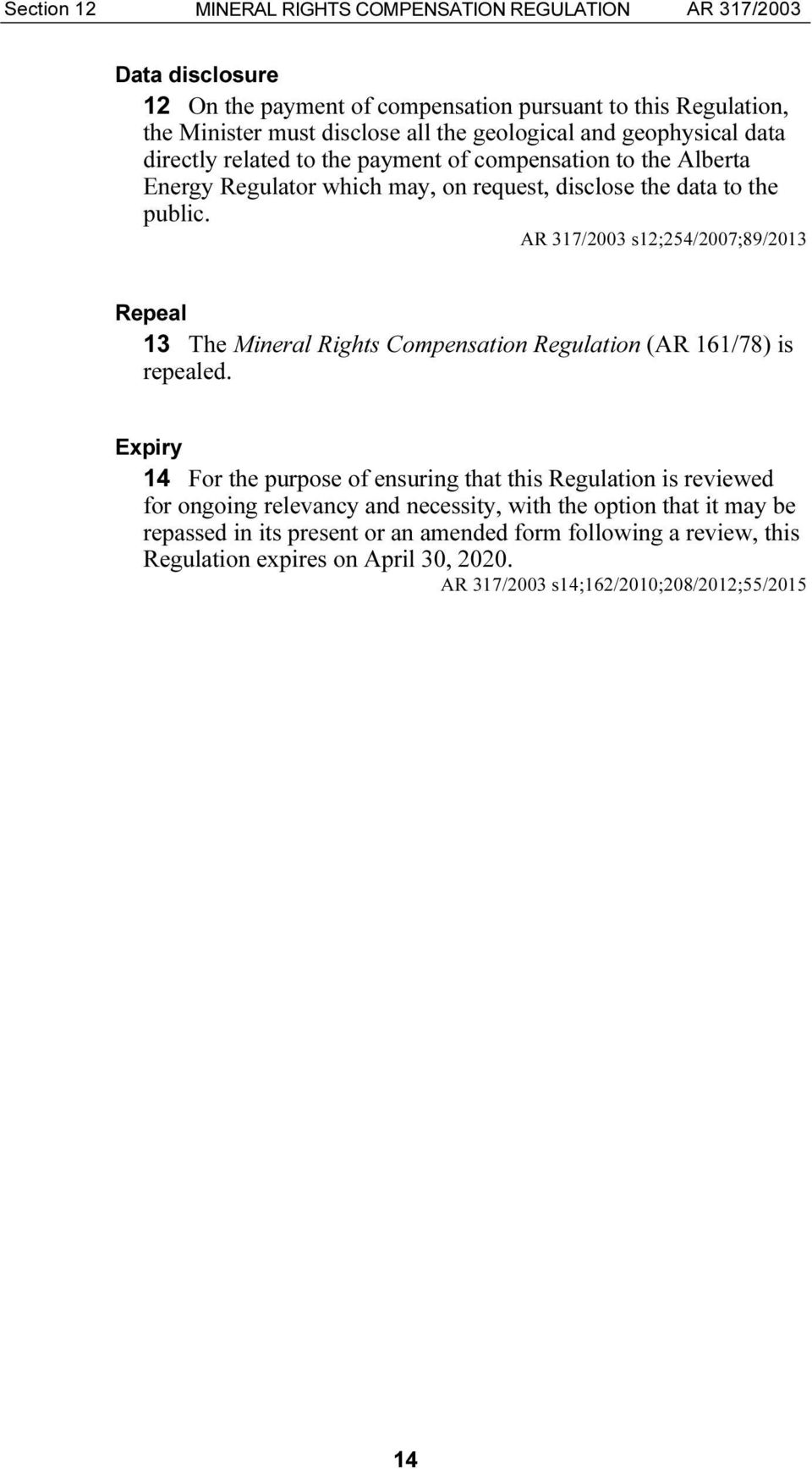 AR 317/2003 s12;254/2007;89/2013 Repeal 13 The Mineral Rights Compensation Regulation (AR 161/78) is repealed.