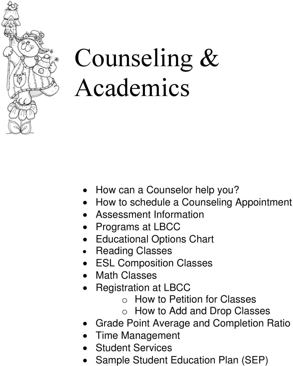Chart Reading Classes ESL Composition Classes Math Classes Registration at LBCC o How to Petition