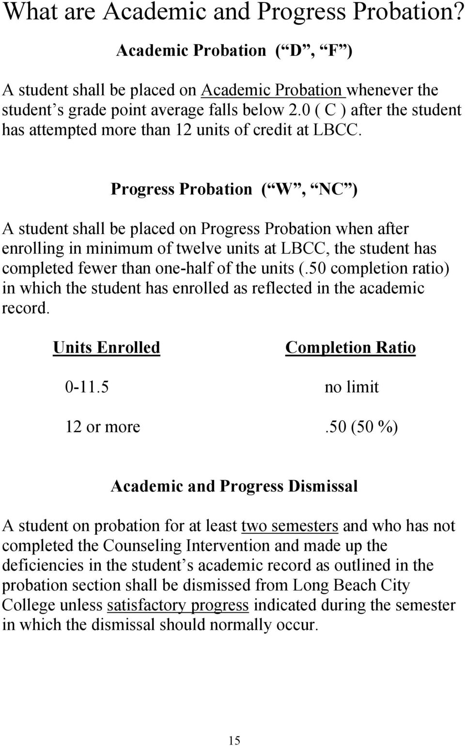 Progress Probation ( W, NC ) A student shall be placed on Progress Probation when after enrolling in minimum of twelve units at LBCC, the student has completed fewer than one-half of the units (.