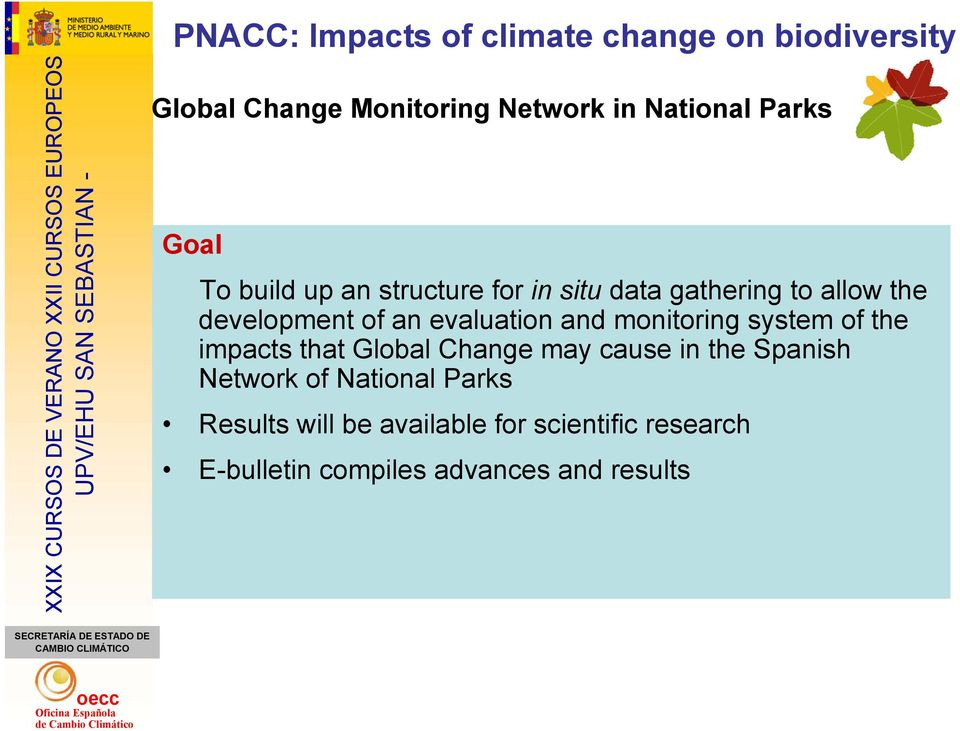 evaluation and monitoring system of the impacts that Global Change may cause in the Spanish