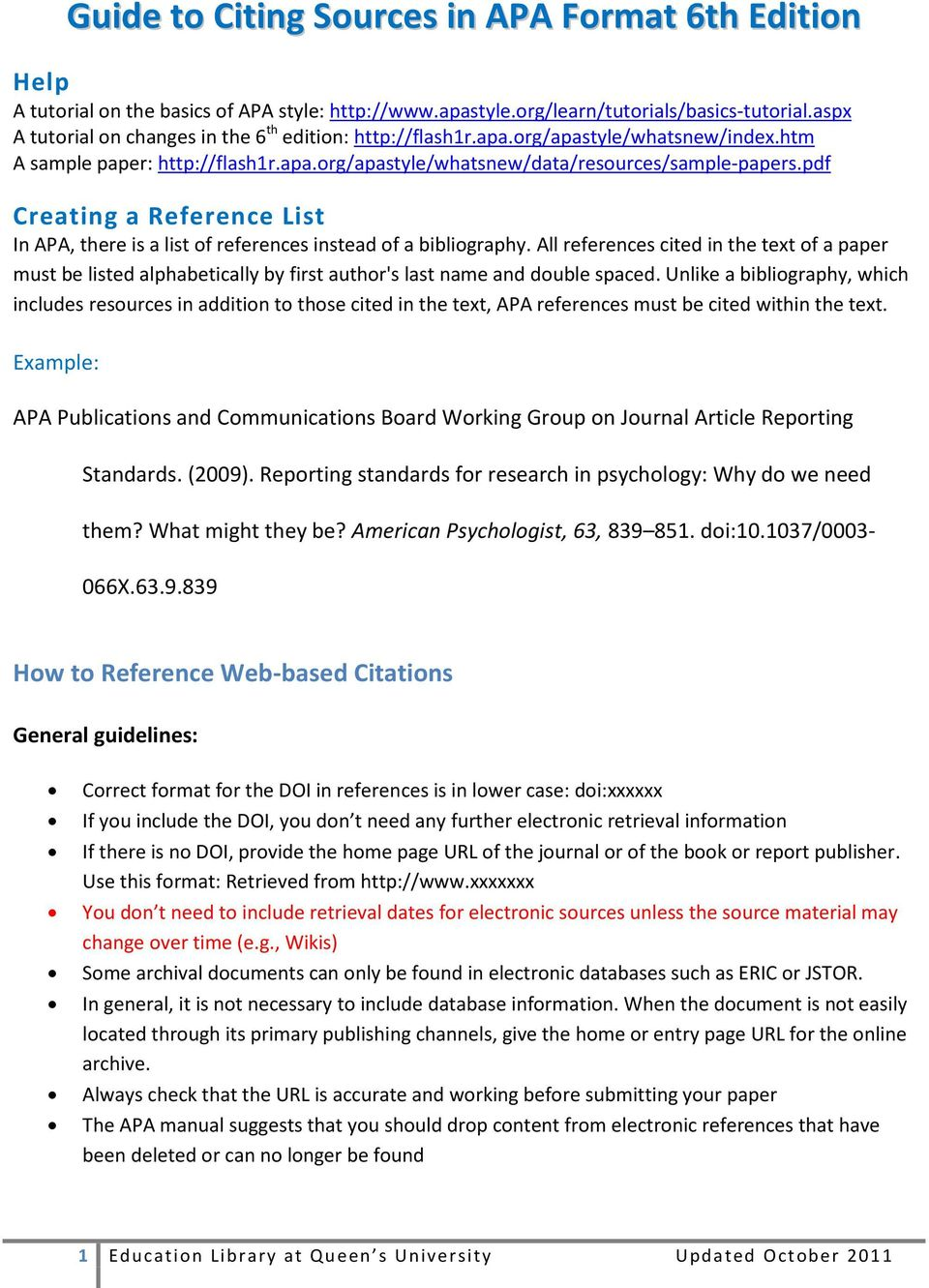 pdf Creating a Reference List In APA, there is a list of references instead of a bibliography.