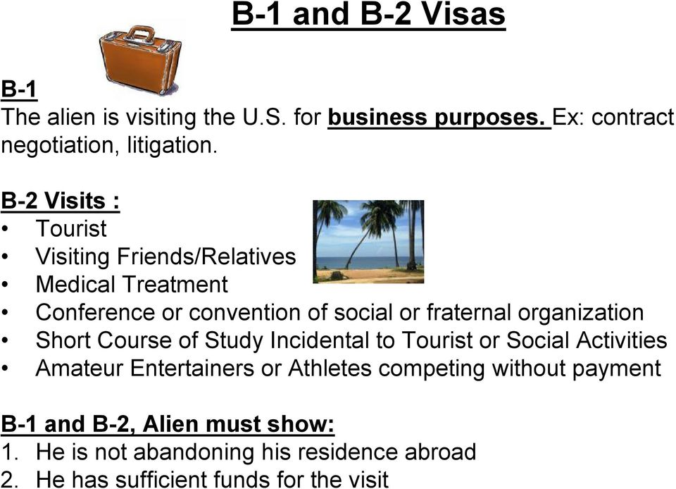 organization Short Course of Study Incidental to Tourist or Social Activities Amateur Entertainers or Athletes