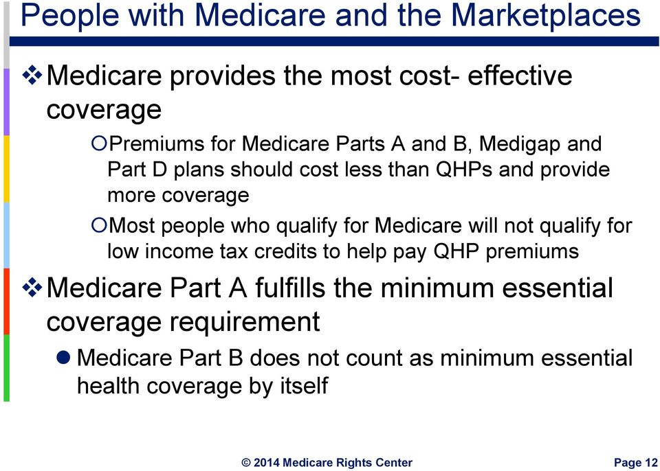 for Medicare will not qualify for low income tax credits to help pay QHP premiums Medicare Part A fulfills the