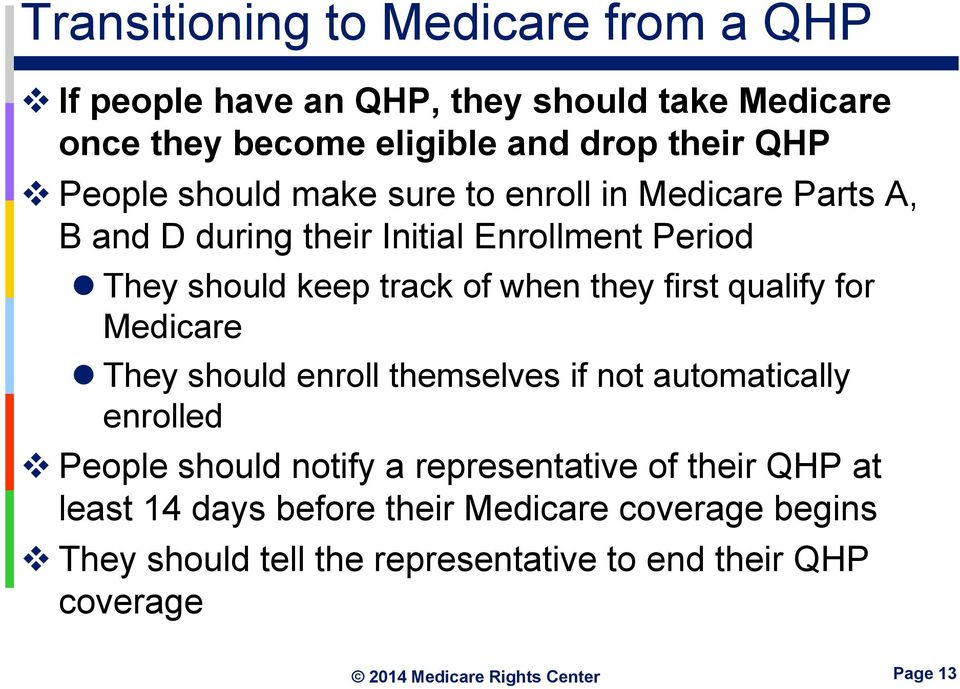 they first qualify for Medicare They should enroll themselves if not automatically enrolled People should notify a representative of