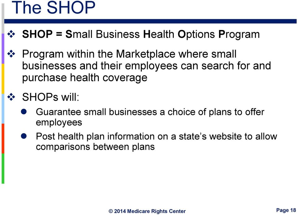 coverage SHOPs will: Guarantee small businesses a choice of plans to offer employees