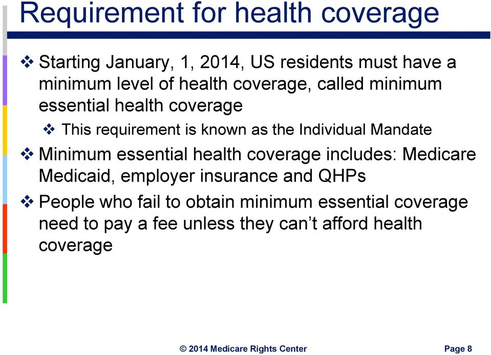 Mandate Minimum essential health coverage includes: Medicare Medicaid, employer insurance and QHPs