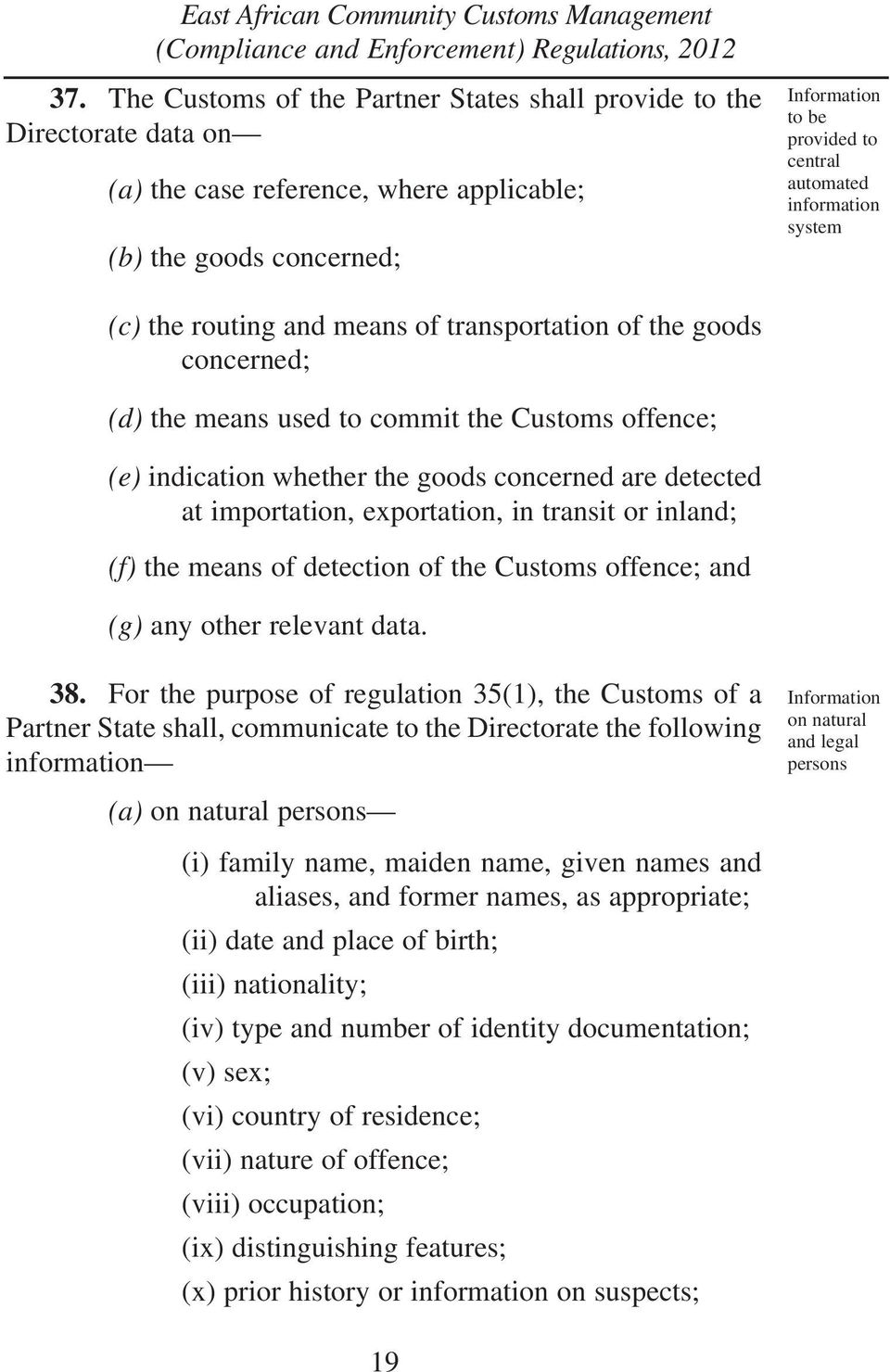 importation, exportation, in transit or inland; (f) the means of detection of the Customs offence; and (g) any other relevant data. 38.
