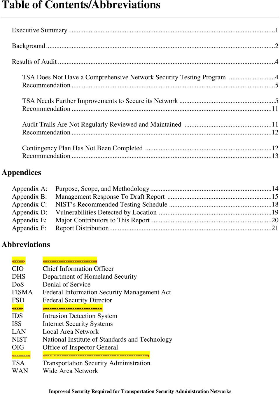 ..12 Recommendation...13 Appendices Appendix A: Purpose, Scope, and Methodology...14 Appendix B: Management Response To Draft Report...15 Appendix C: NIST s Recommended Testing Schedule.