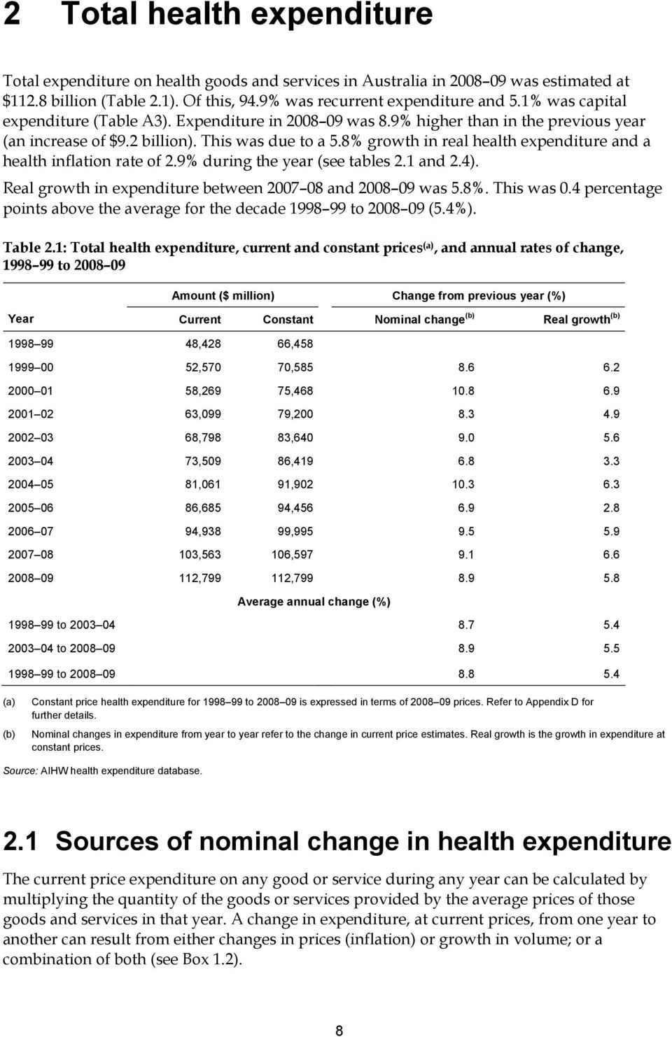 8% growth in real health expenditure and a health inflation rate of 2.9% during the year (see tables 2.1 and 2.4). Real growth in expenditure between 2007 08 and 2008 09 was 5.8%. This was 0.