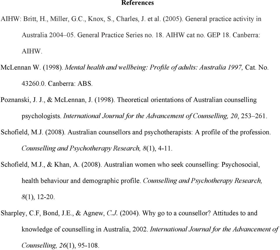 International Journal for the Advancement of Counselling, 20, 253 261. Schofield, M.J. (2008). Australian counsellors and psychotherapists: A profile of the profession.