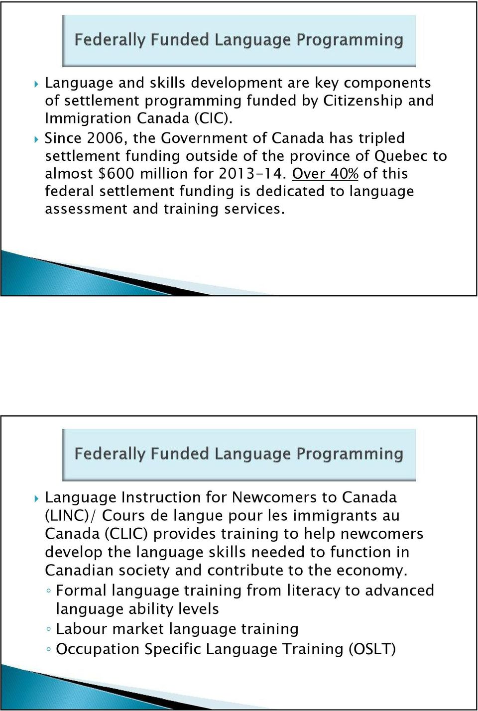 Over 40% of this federal settlement funding is dedicated to language assessment and training services.