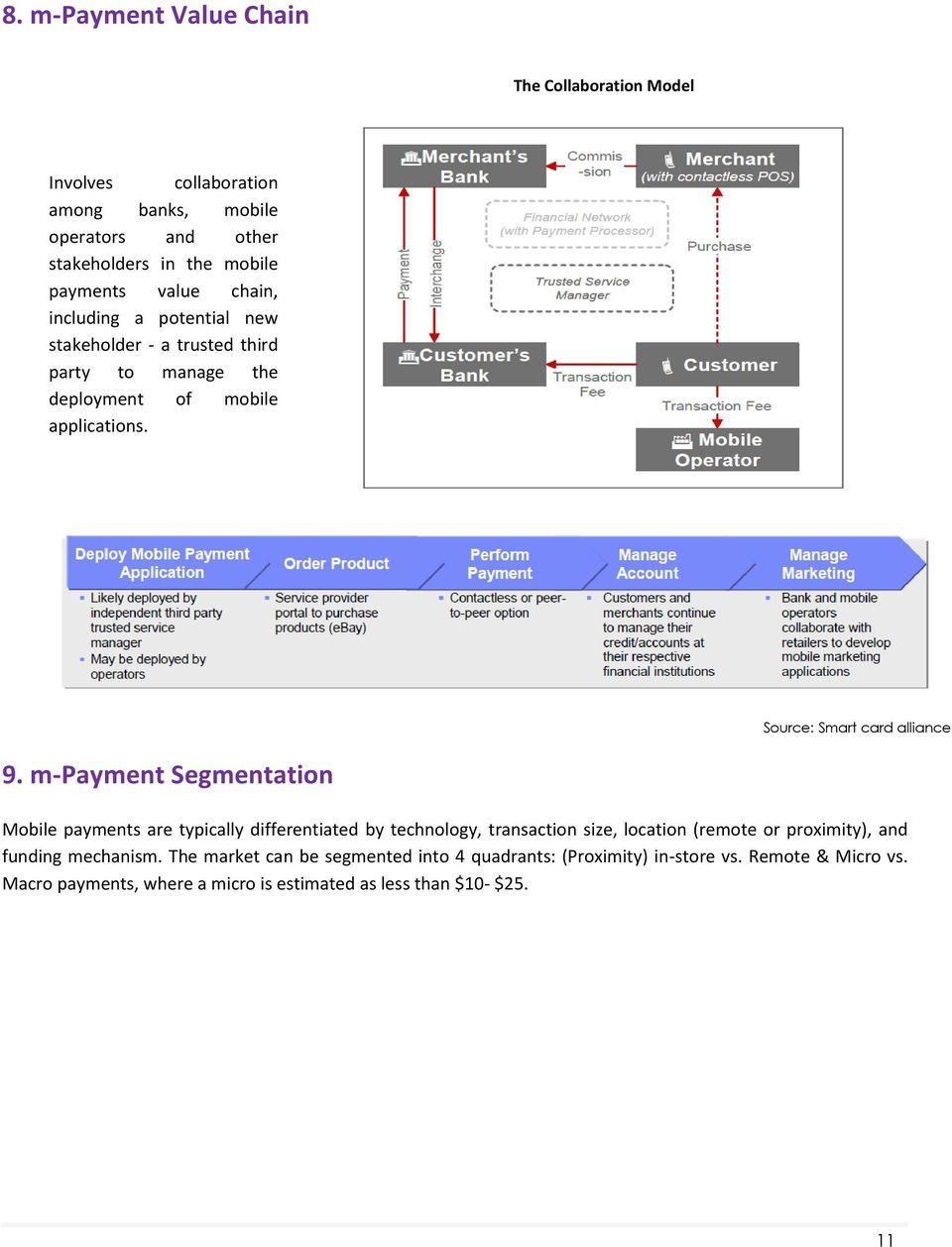 m-payment Segmentation Mobile payments are typically differentiated by technology, transaction size, location (remote or proximity), and funding mechanism.