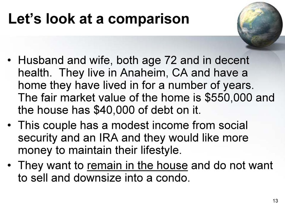 The fair market value of the home is $550,000 and the house has $40,000 of debt on it.
