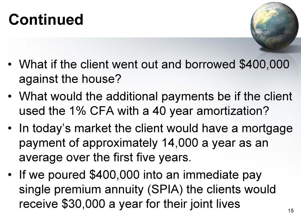 In today s market the client would have a mortgage payment of approximately 14,000 a year as an average over