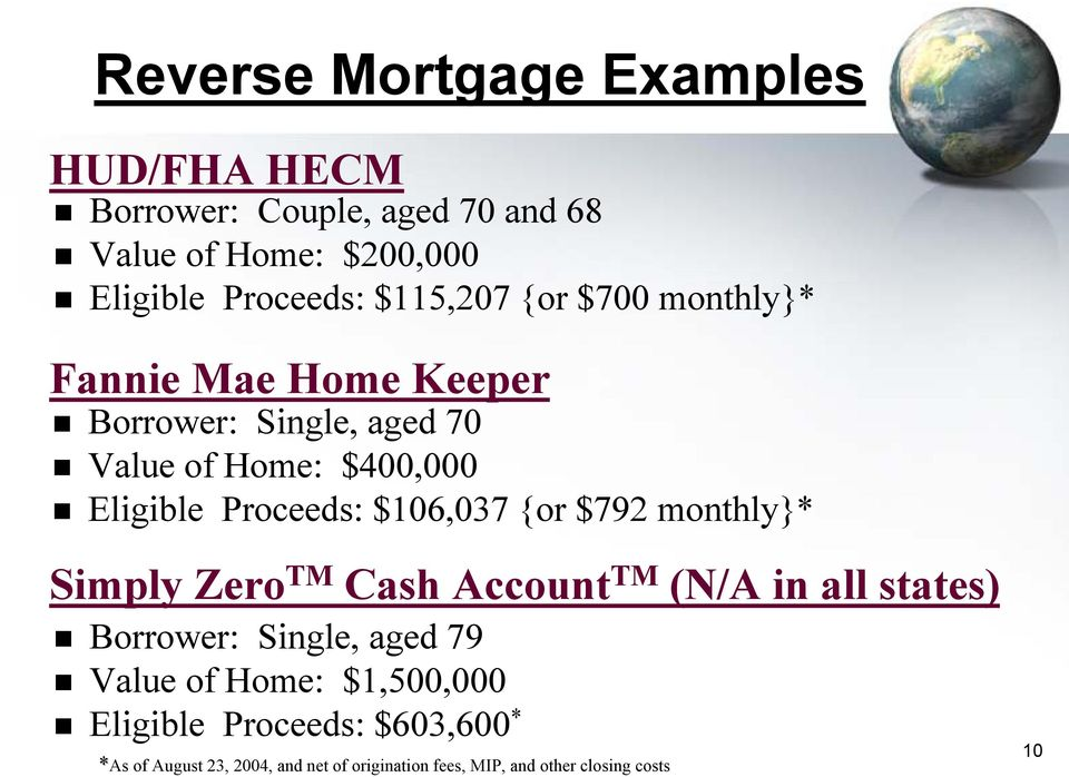 $106,037 {or $792 monthly}* Simply Zero TM Cash Account TM (N/A in all states) Borrower: Single, aged 79 Value of Home: