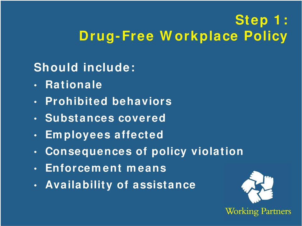 Substances covered Employees affected