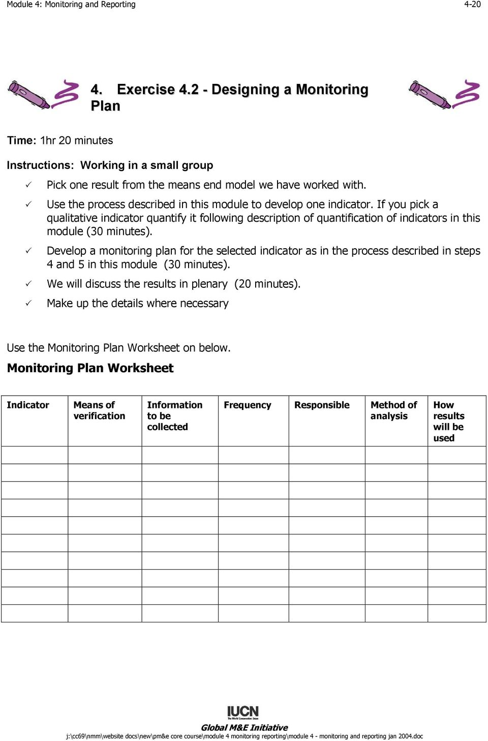 Use the process described in this module to develop one indicator. If you pick a qualitative indicator quantify it following description of quantification of indicators in this module (30 minutes).