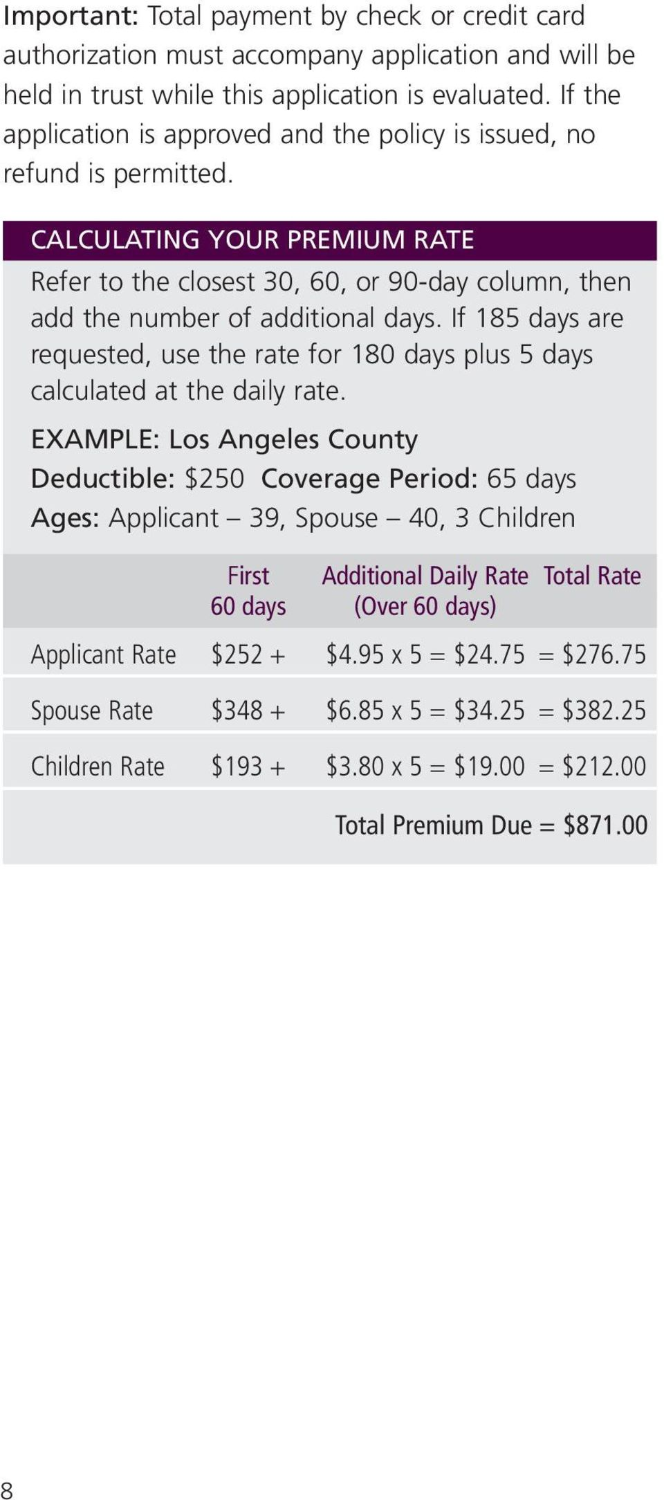 If 185 days are requested, use the rate for 180 days plus 5 days calculated at the daily rate.
