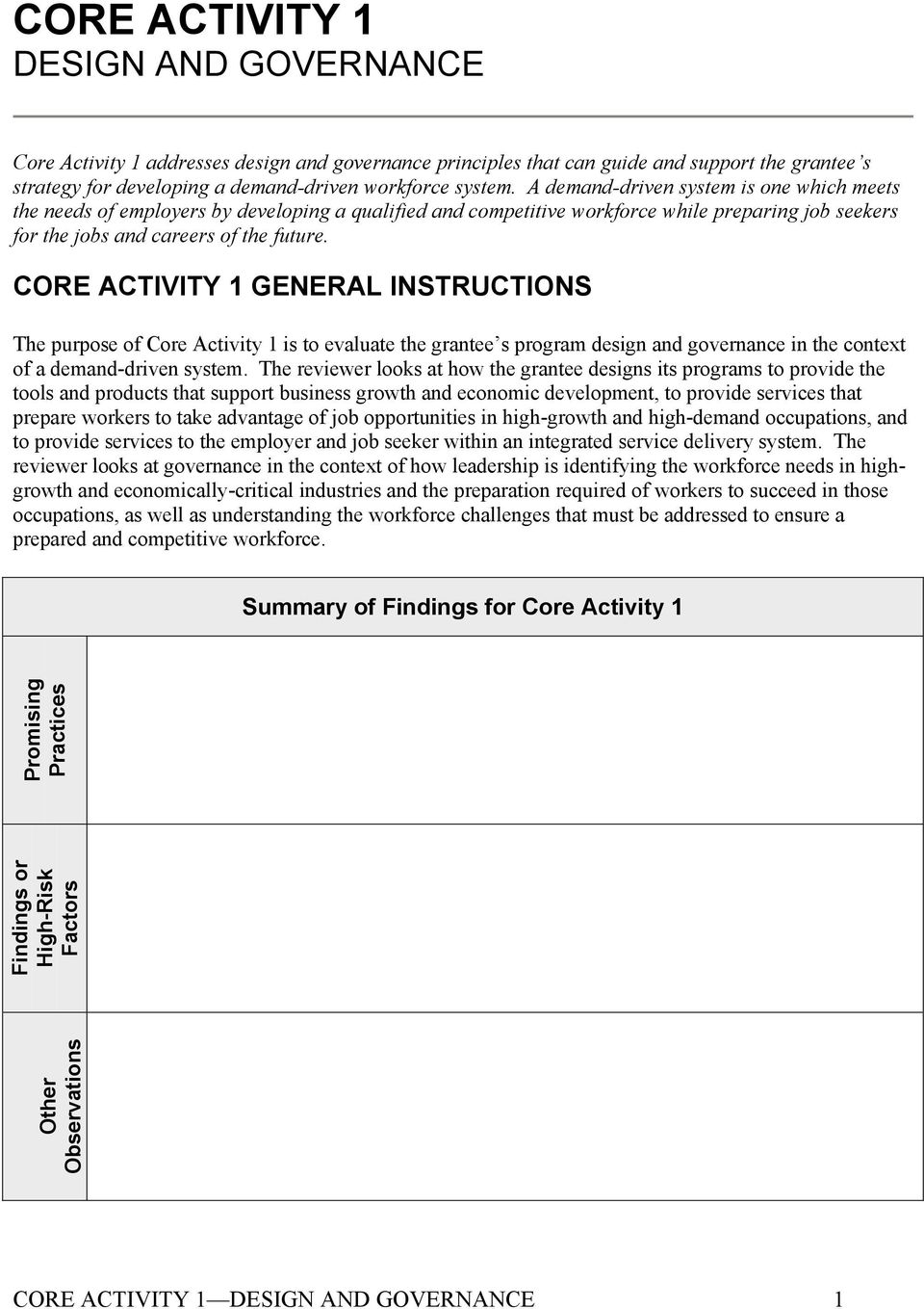 CORE ACTIVITY 1 GENERAL INSTRUCTIONS The purpose of Core Activity 1 is to evaluate the grantee s program design and governance in the context of a demand-driven system.