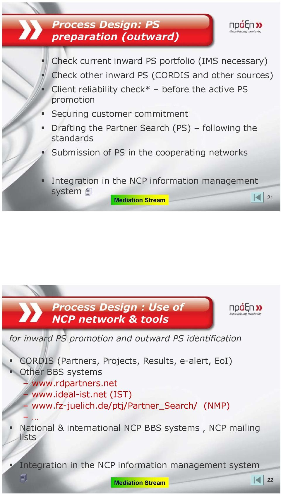 Stream 21 Process Design : Use of NCP network & tools for inward PS promotion and outward PS identification CORDIS (Partners, Projects, Results, e-alert, ΕοΙ) Other BBS systems www.rdpartners.