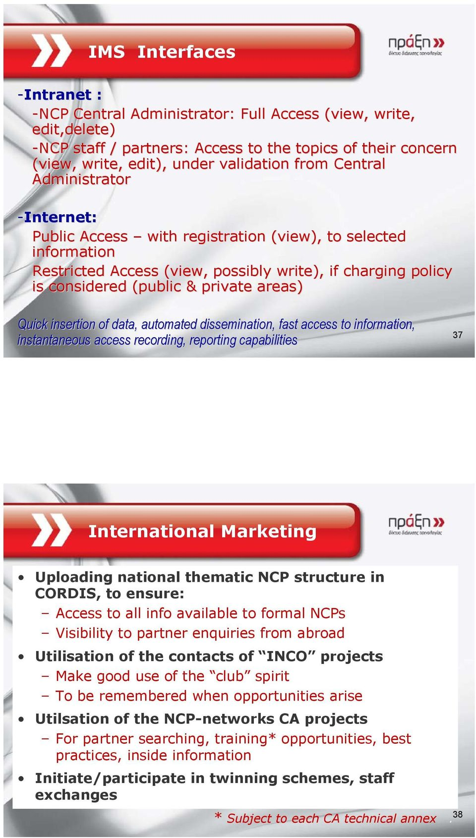 Quick insertion of data, automated dissemination, fast access to information, instantaneous access recording, reporting capabilities 37 International Marketing Uploading national thematic NCP