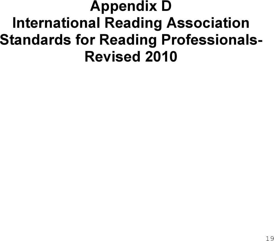 Standards for Reading
