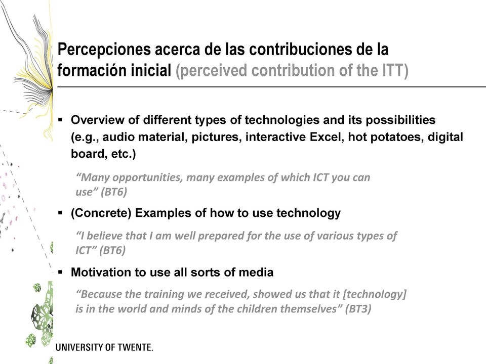 ) Many opportunities, many examples of which ICT you can use (BT6) (Concrete) Examples of how to use technology I believe that I am well prepared for