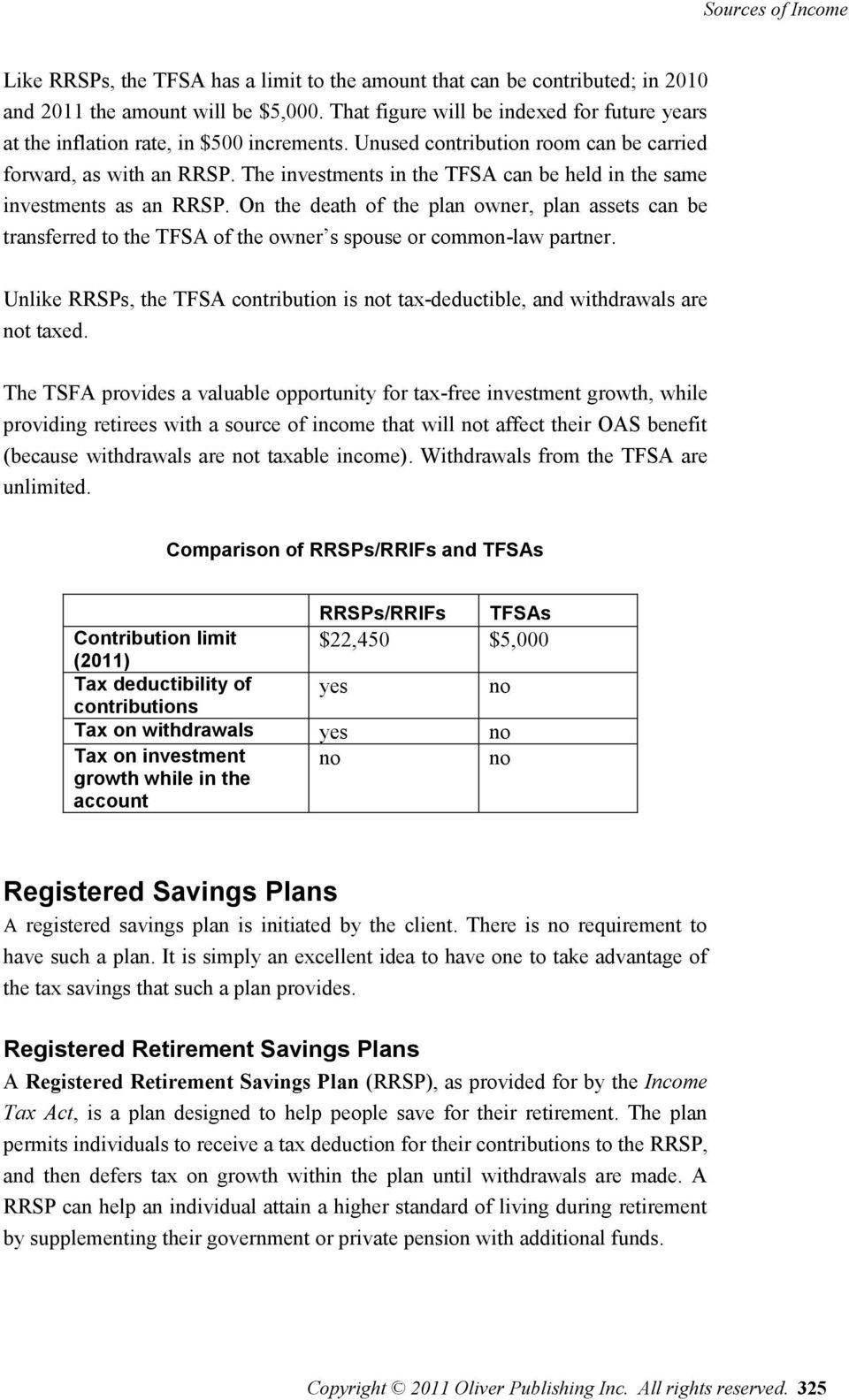The investments in the TFSA can be held in the same investments as an RRSP. On the death of the plan owner, plan assets can be transferred to the TFSA of the owner s spouse or common-law partner.