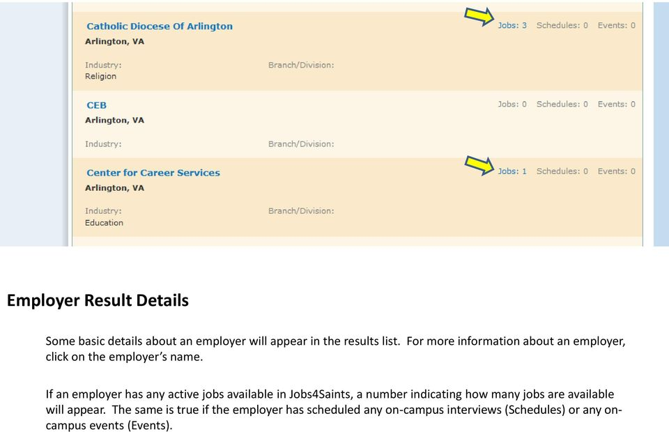 If an employer has any active jobs available in Jobs4Saints, a number indicating how many jobs are