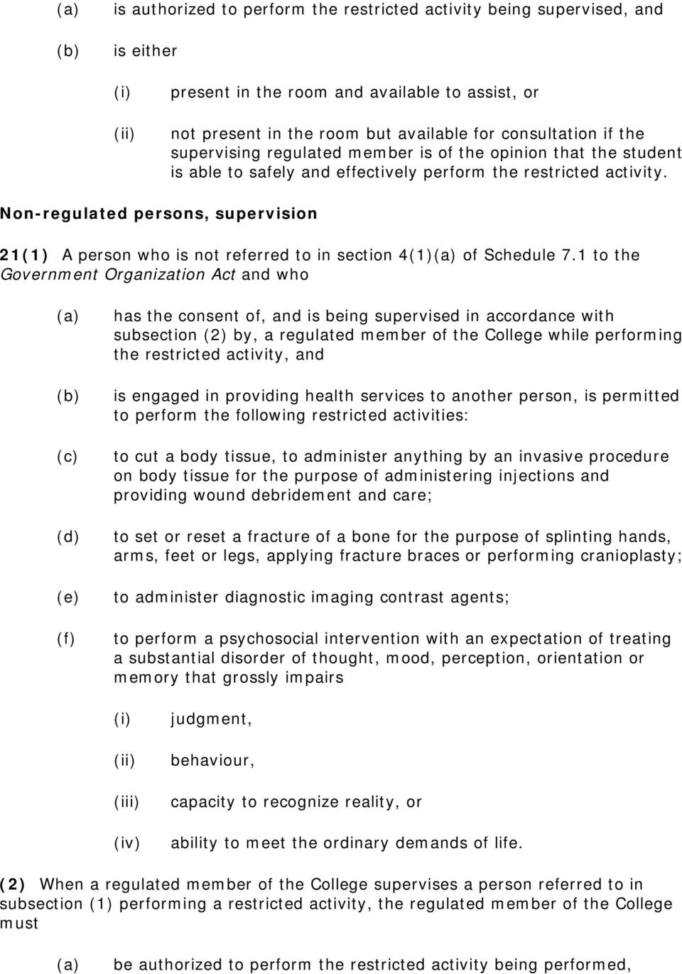 Non-regulated persons, supervision 21(1) A person who is not referred to in section 4(1) of Schedule 7.