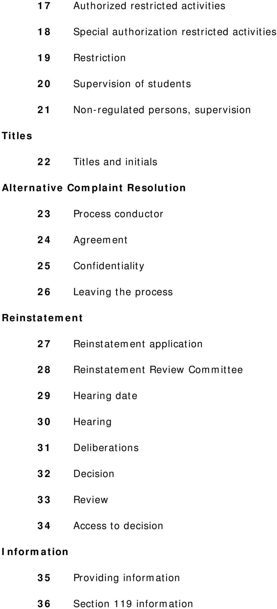 25 Confidentiality 26 Leaving the process Reinstatement 27 Reinstatement application 28 Reinstatement Review Committee 29 Hearing
