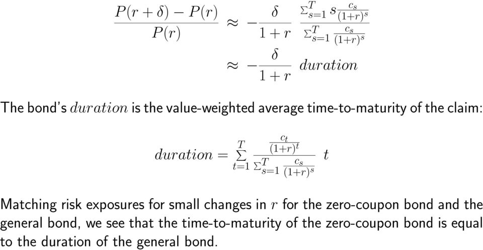 s s=1 (1+r) s t Matching risk exposures for small changes in r for the zero-coupon bond and the