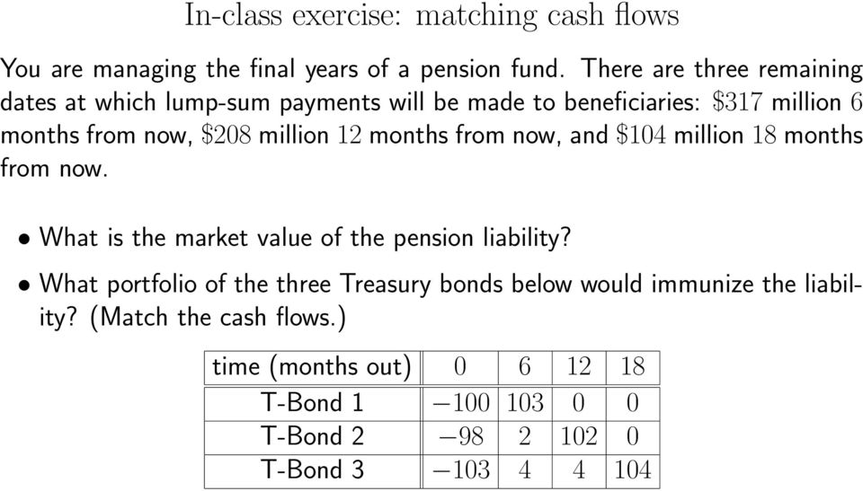 million 12 months from now, and $104 million 18 months from now. What is the market value of the pension liability?