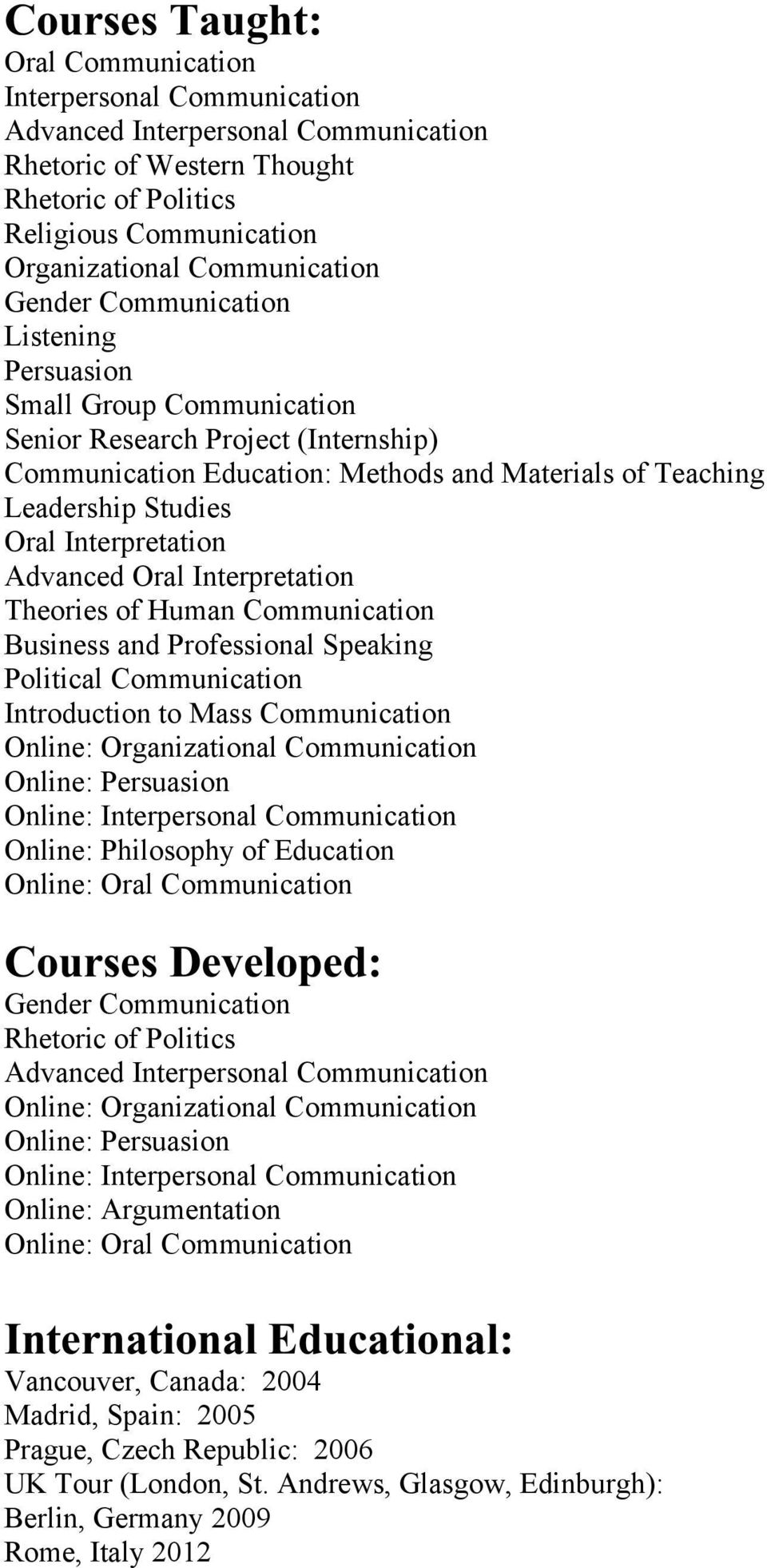 Advanced Oral Interpretation Theories of Human Communication Business and Professional Speaking Political Communication Introduction to Mass Communication Online: Organizational Communication Online: