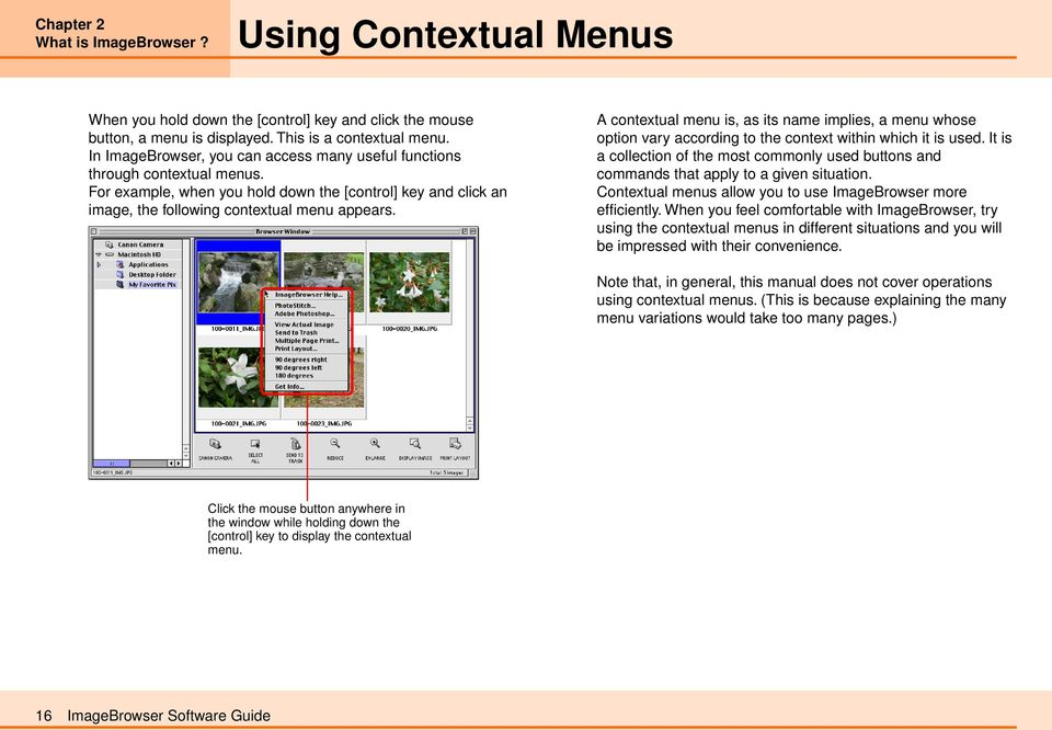 A contextual menu is, as its name implies, a menu whose option vary according to the context within which it is used.