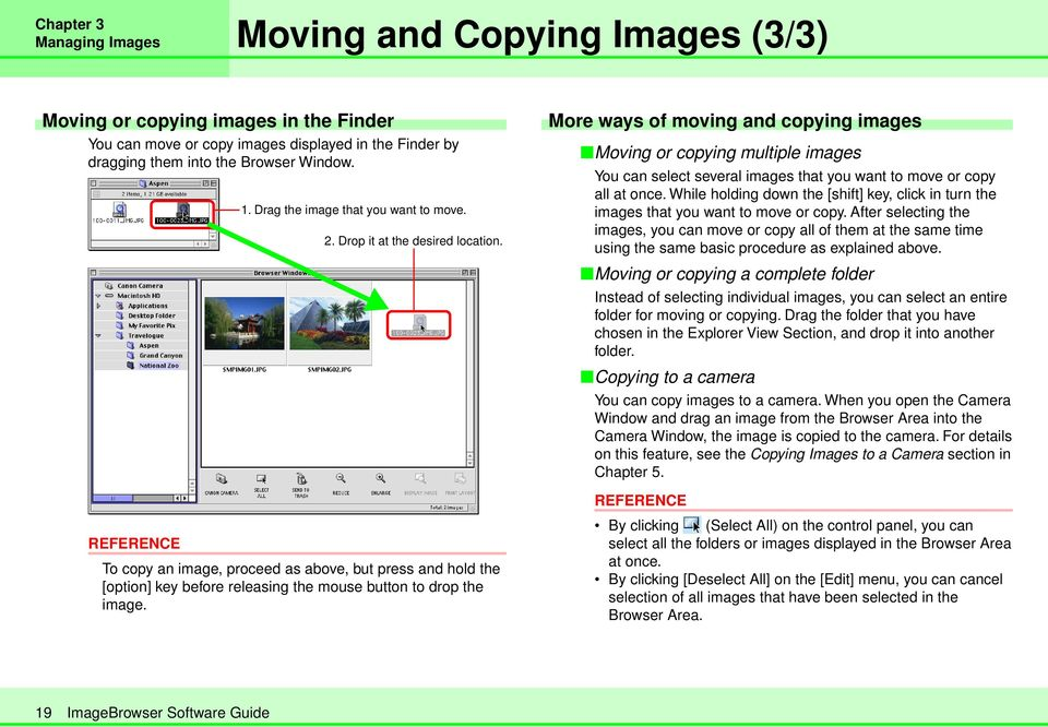 More ways of moving and copying images Moving or copying multiple images You can select several images that you want to move or copy all at once.