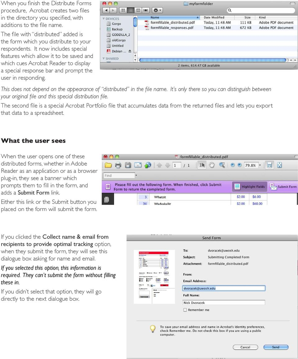 It now includes special features which allow it to be saved and which cues Acrobat Reader to display a special response bar and prompt the user in responding.