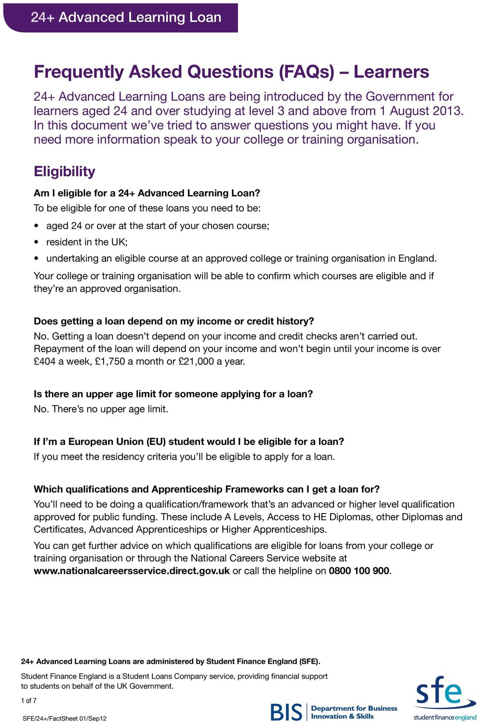 Eligibility Am I eligible for a 24+ Advanced Learning Loan?