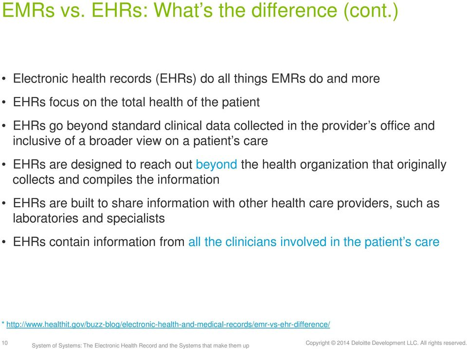 provider s office and inclusive of a broader view on a patient s care EHRs are designed to reach out beyond the health organization that originally collects and compiles