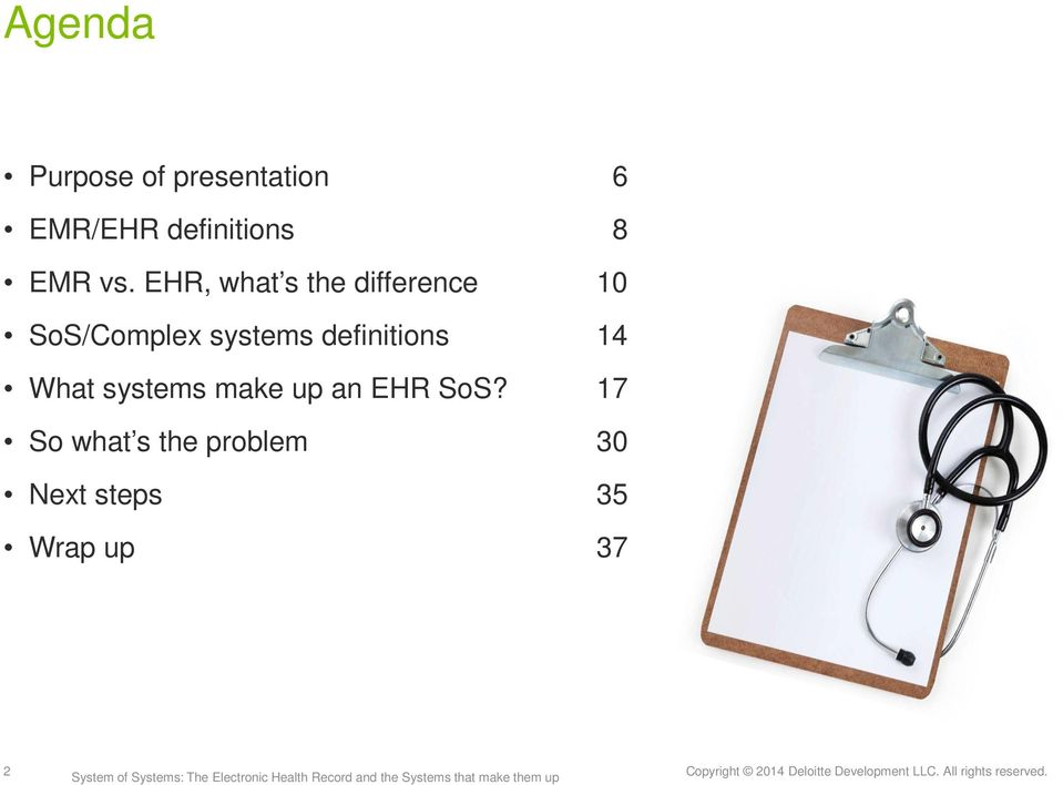 EHR, what s the difference 10 SoS/Complex systems