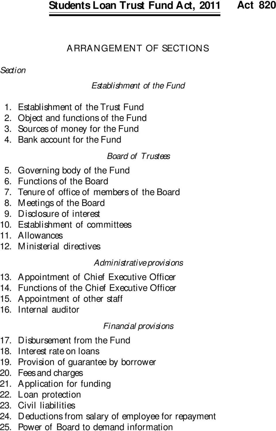 Meetings of the Board 9. Disclosure of interest 10. Establishment of committees 11. Allowances 12. Ministerial directives Administrative provisions 13. Appointment of Chief Executive Officer 14.