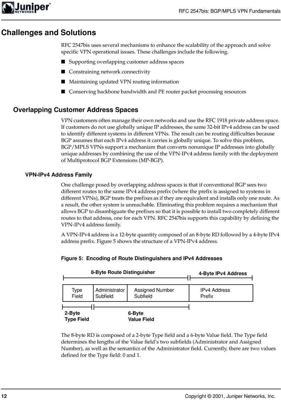 Overlapping Customer Address Spaces VPN-IPv4 Address Family VPN customers often manage their own networks and use the RFC 1918 private address space.