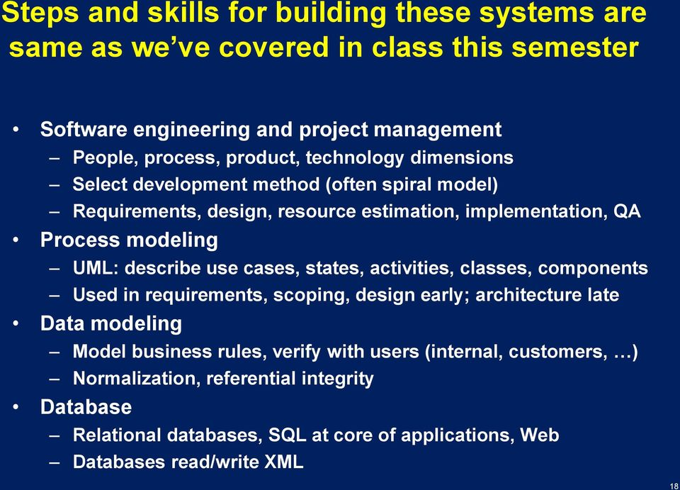 describe use cases, states, activities, classes, components Used in requirements, scoping, design early; architecture late Data modeling Model business rules,