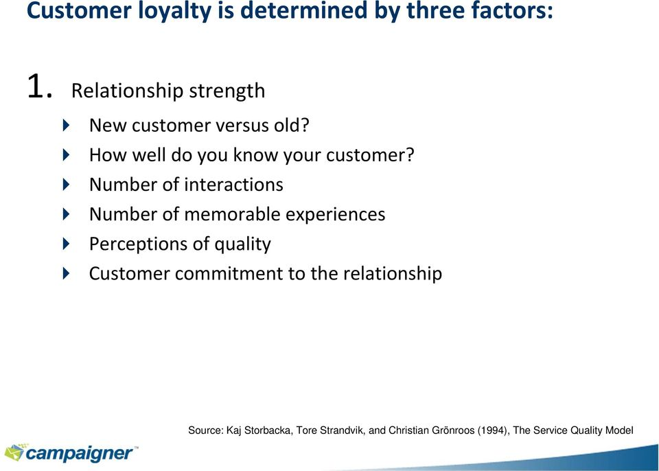 Number of interactions Number of memorable experiences Perceptions of quality Customer
