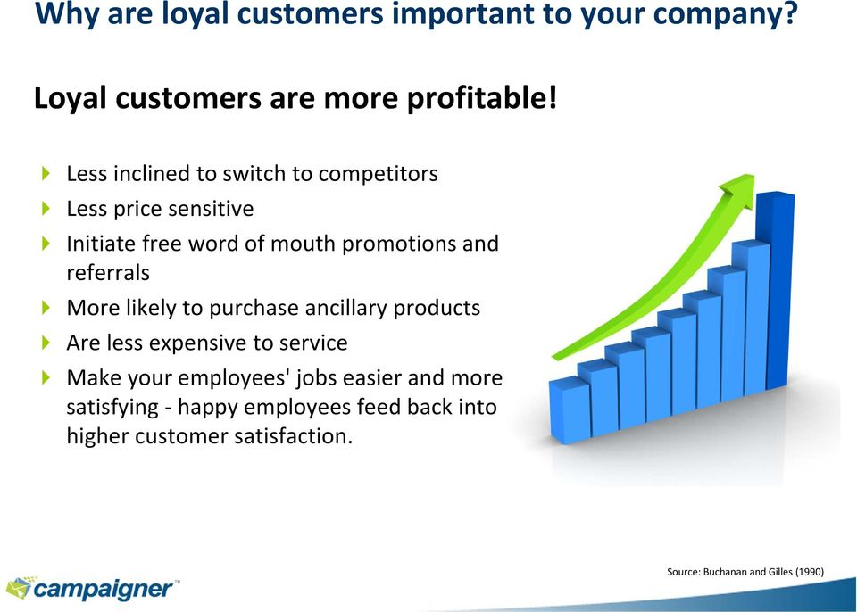 referrals More likely to purchase ancillary products Are less expensive to service Make your employees'