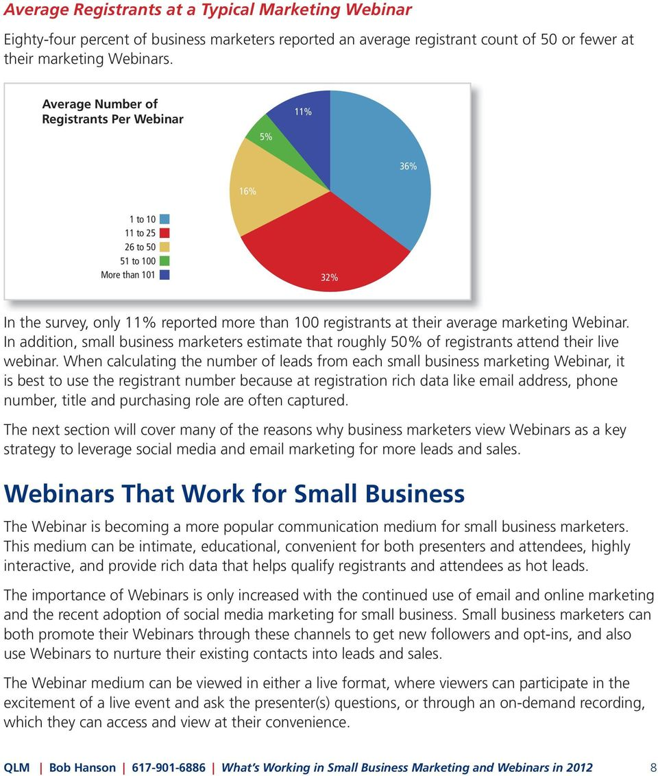 Webinar. In addition, small business marketers estimate that roughly 50% of registrants attend their live webinar.