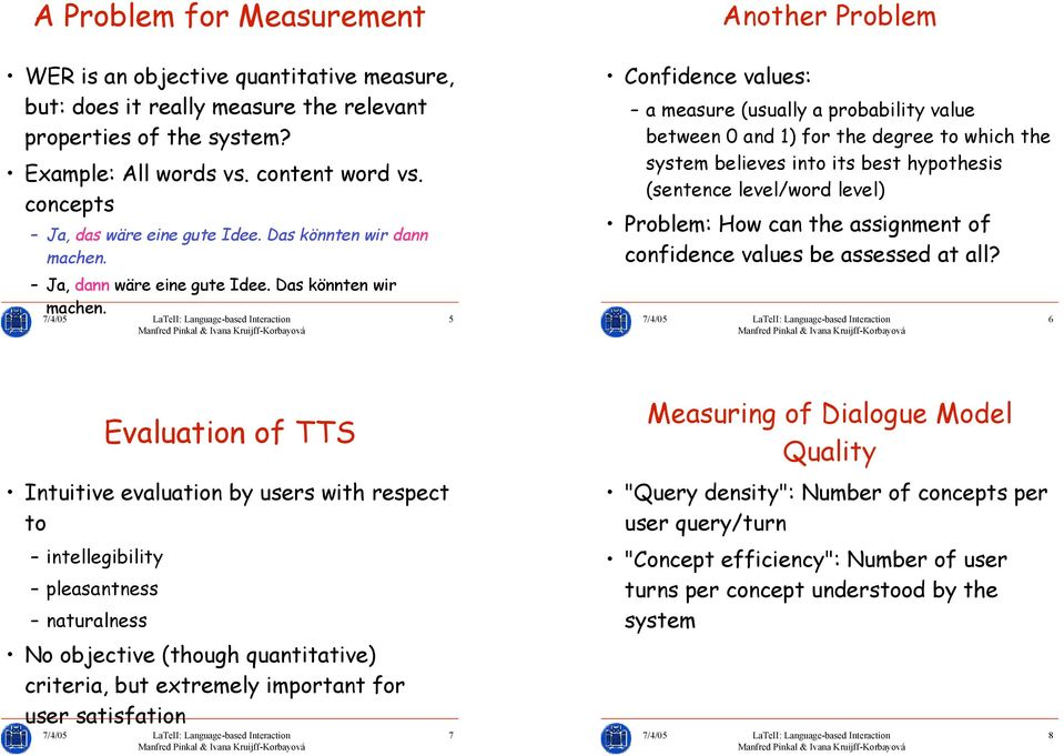 5 Confidence values: a measure (usually a probability value between 0 and 1) for the degree to which the system believes into its best hypothesis (sentence level/word level) Problem: How can the