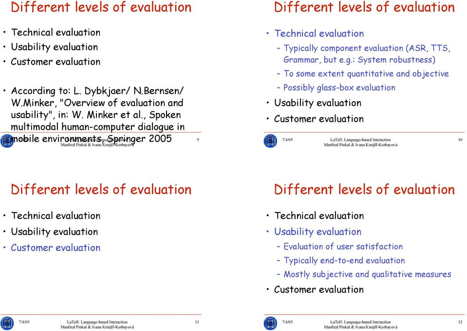 e in Technical evaluation Typically component evaluation (ASR, TTS, Grammar, but e.g.