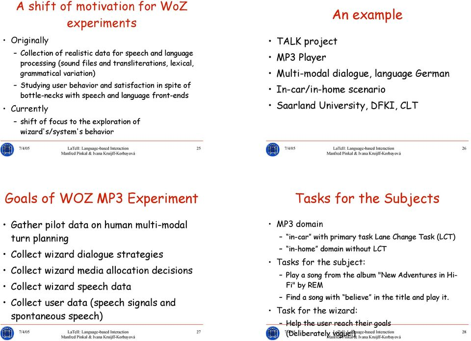 Saarland University, DFKI, CLT shift of focus to the exploration of wizard's/system's behavior 25 26 Goals of WOZ MP3 Experiment Tasks for the Subjects Gather pilot data on human multi-modal turn